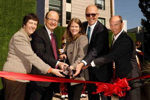 ribbon-cutting Max Nikias Lisa Hansen Norris Healthcare