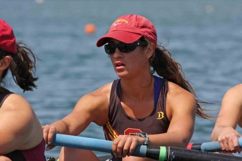 Laura Corrales-Diaz Pomatto was a scholarship recipient as an undergrad and also rowed for USC. (Photo/Courtesy of Laura Corrales-Diaz Pomatto competing in rowing