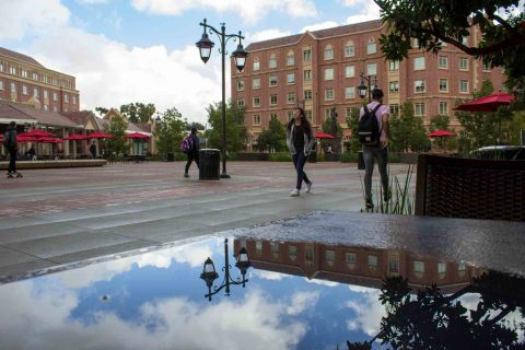 USC Village reflected in puddle