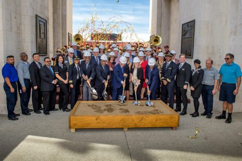 USC President C. L. Max Nikias leads ceremonial groundbreaking at the Los Angeles Memorial Coliseum