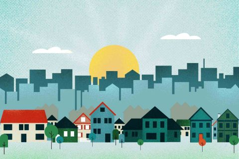 Suburban home against a city skyline illustration