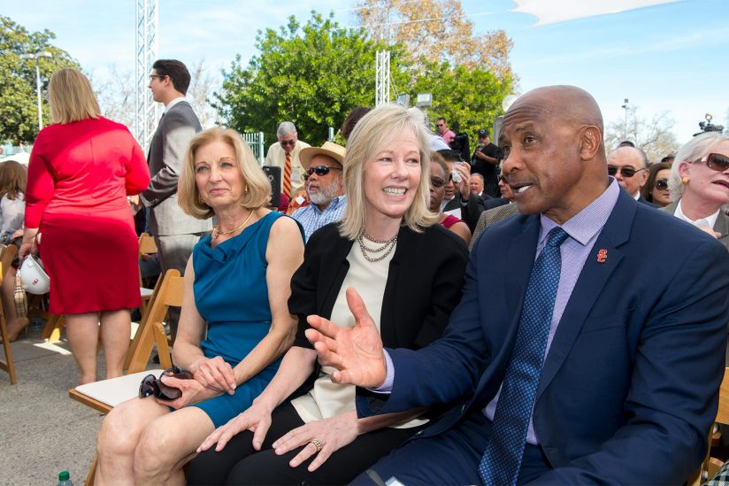 Niki C. Nikias, Janet Lamkin and Lynn Swann