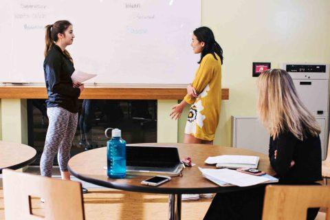 Classroom shot with Rachel Blocher Jocelyn Lee and Ella Wilson