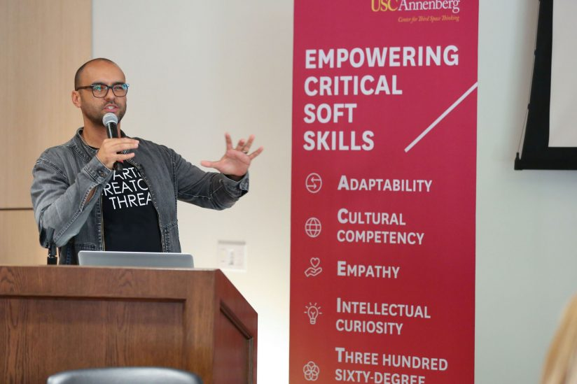 Mauricio Mota speaking at Annenberg