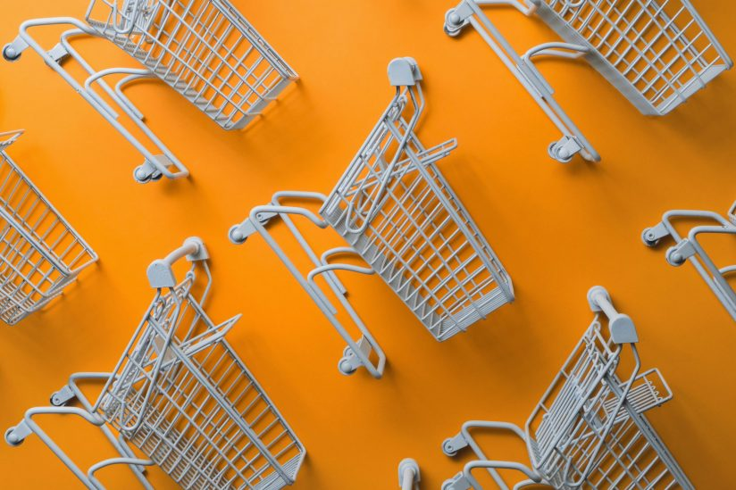 photo illustration with shopping carts