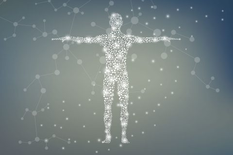 Illustrated concept of human anatomy and particles