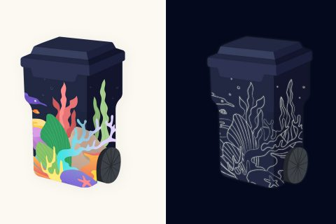 TRASHed Coachella trash cans designs by student Jane Li of the USC Iovine and Young Academy