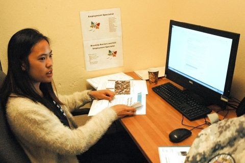 Gloria Cheng working at Chrysalis