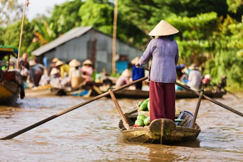 human interacting with environment in Mekong River Delta