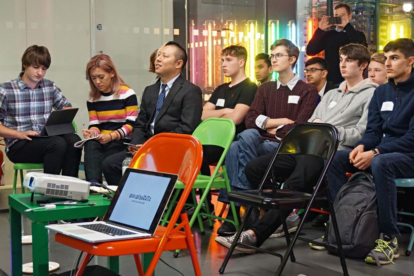 Audience at hackathon Aimee Zhang and Hao Li