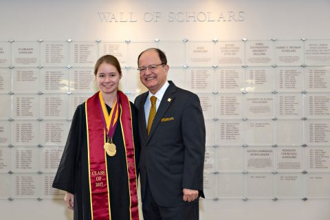 Richelle Smith and USC President C. L. Max Nikias