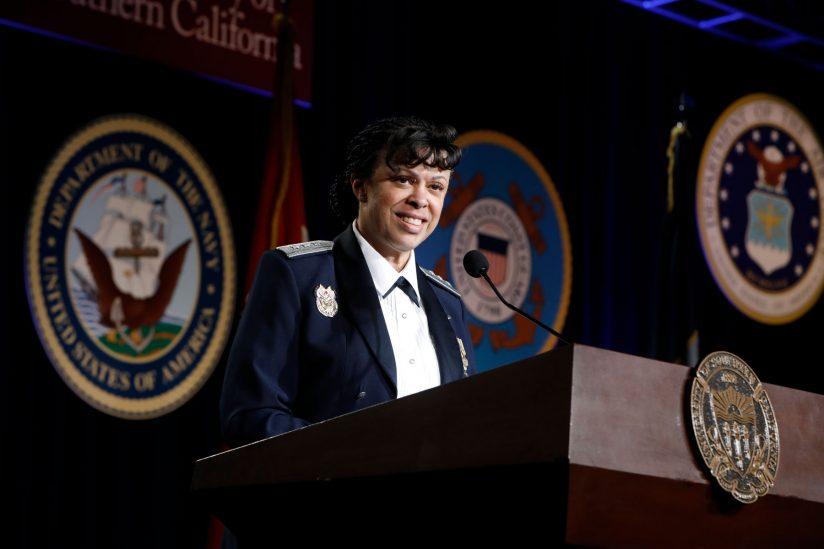 Lt. Gen. Stayce Harris speaks at USC Veterans ROTC gala