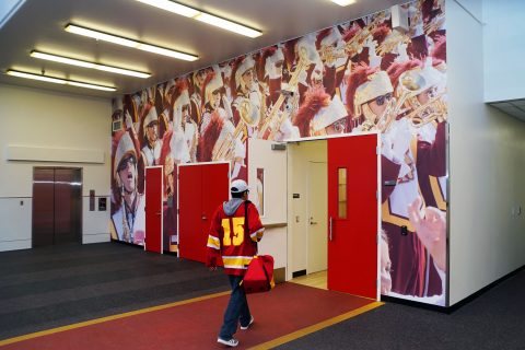 entrance to new Trojan Marching Band space
