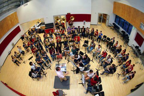 Trojan Marching Band rehearses