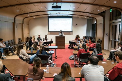 Trojan Debate Squad event in Sheindlin Forum