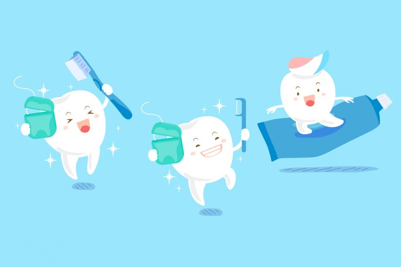 Does flossing work: Illustration of healthy cartoon teeth depicting brushing and flossing