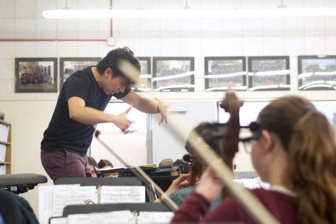 Wang conducting orchestra class