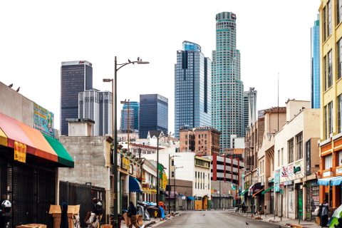 skid row in downtown los angeles has many experiencing homelessness