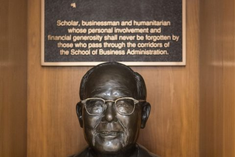 Bronze bust of Albert T. Quon, funder of scholarships for international students