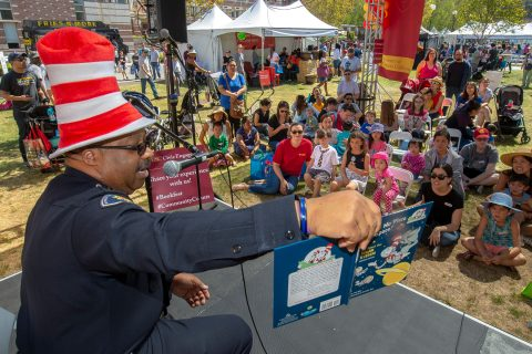 Reading to kids at Festival of Books