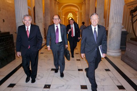 President Nikias with Ed Roski Chris Cox and David Brown