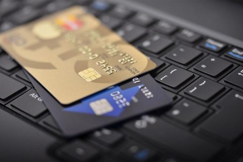 Amazon banking? Photo of credit cards on a keyboard