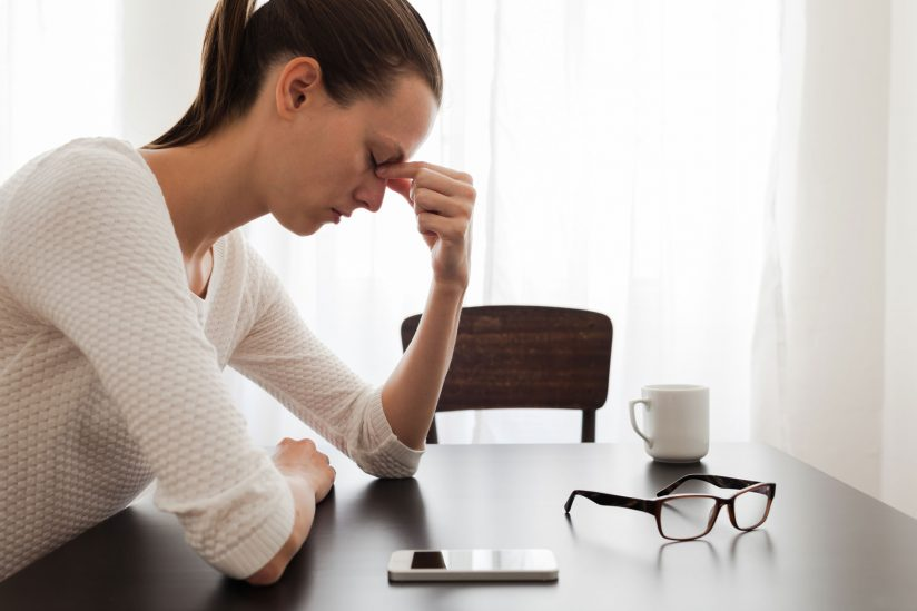 Stressed woman, with tips on how to manage stress