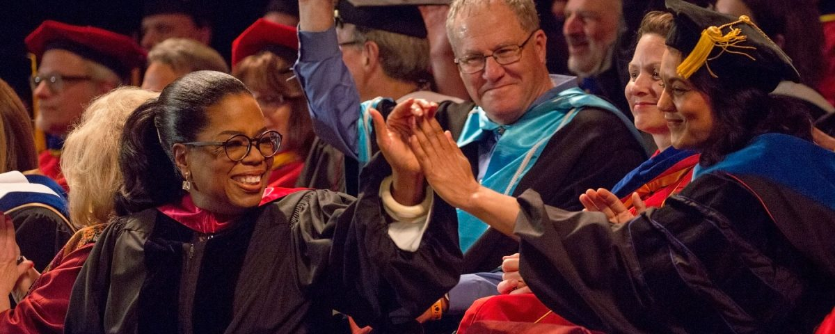 Celebrities at USC: Oprah Winfrey at USC, celebrating with graduates