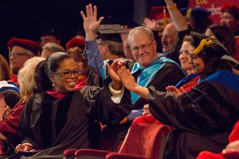 Oprah Winfrey at USC, celebrating with graduates