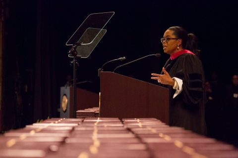 Oprah Winfrey at USC, speaking at podium
