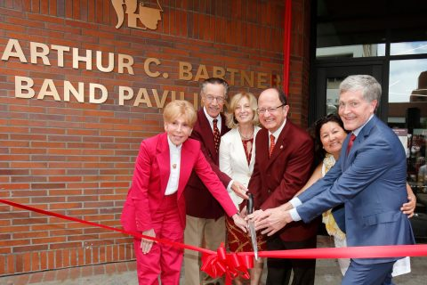 USC Trojan Marching Band pavilion ribbon cutting