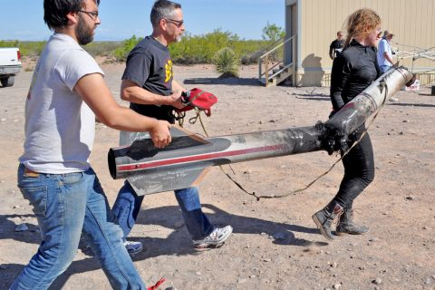 fascination with flight: Cimo helps carry at rocket after a launch with RPL