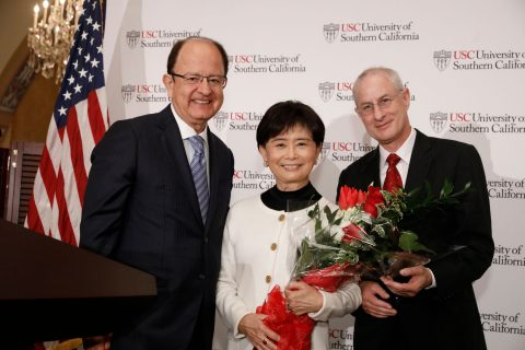 Longevity and aging at USC: USC President C. L. Max Nikias, Mei-Lee Ney and Dean Pinchas Cohen