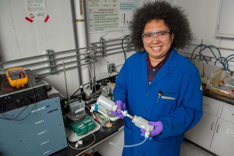 USC chemistry student Ryan Lopez portrait in lab