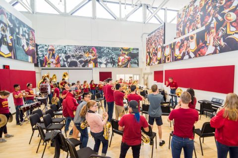 Trojan Marching Band in Ireland: rehearsal