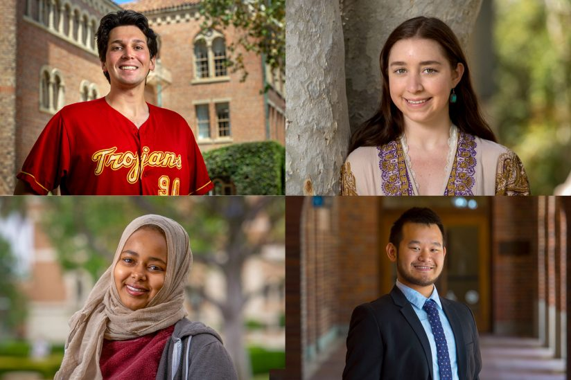 USC graduates, then and now: Dan Brink, Natalie Raphael, Jason Chen and Newal Osman