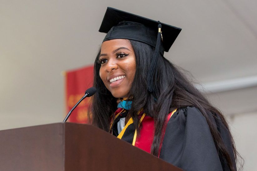 Sarah Toutant speaking at commencement 2018