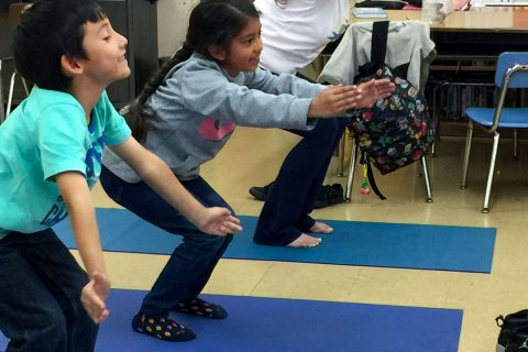 yoga at USC: kids doing yoga at Vermont Elementary school with JEP program