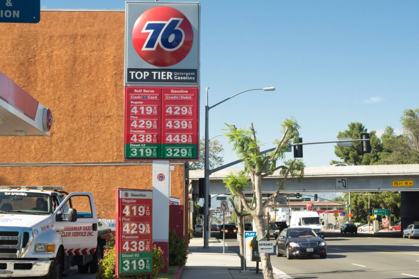 signage showing gas prices in Los Angeles