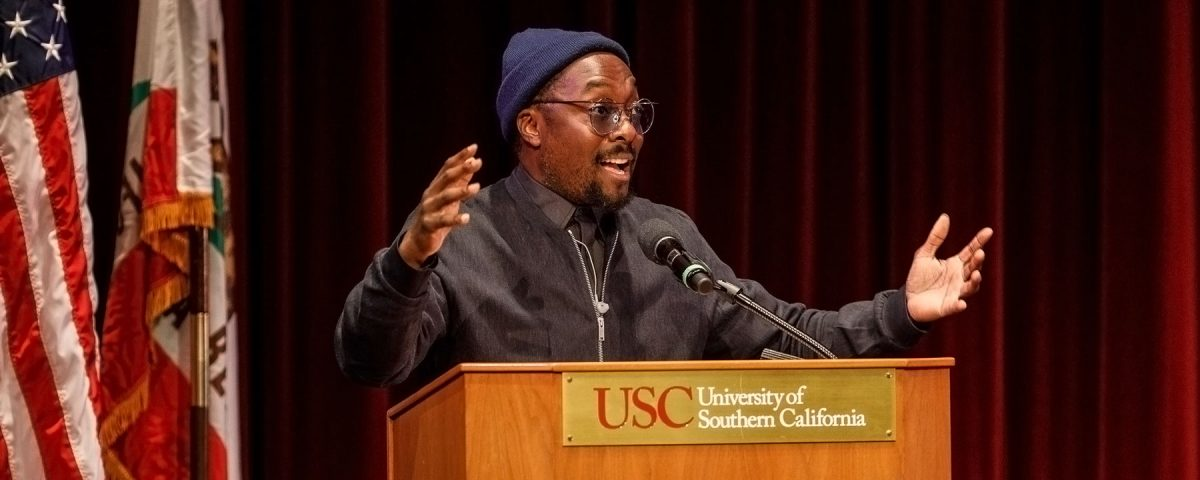 will.i.am speaks at Iovine and Young graduation