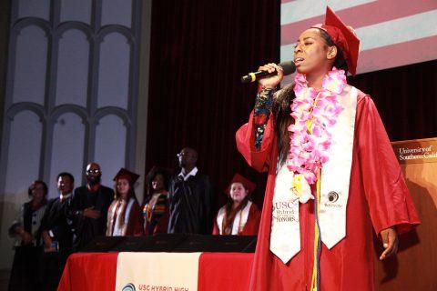 Arianna Brown at Hybrid High graduation