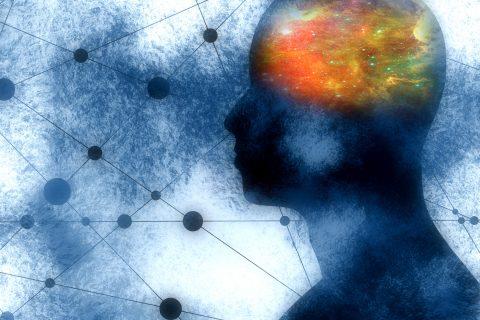 schizophrenia research: Illustration concept mental illness mechanisms and schizophrenia