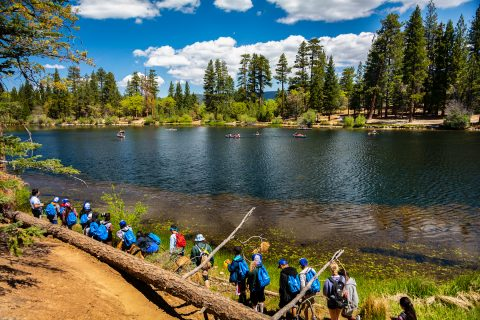 Troy campers hike near Jenks Lake