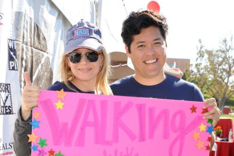 Renée Zellweger and ALS researcher Justin Ichida at ALS walk