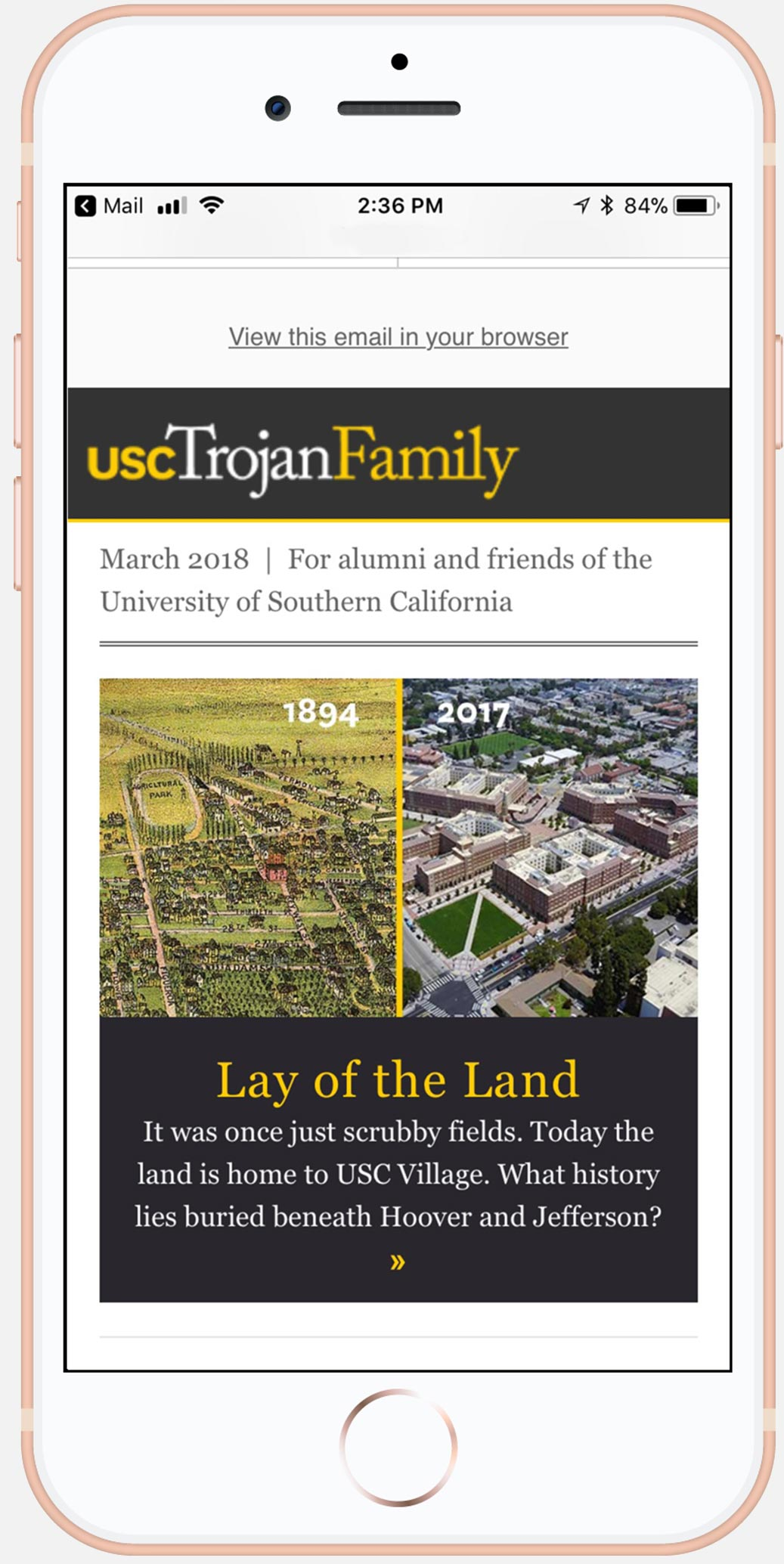 USC Trojan Family Magazine newsletter
