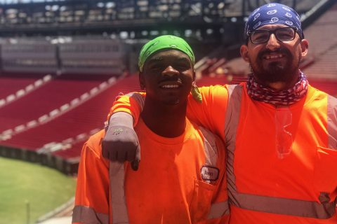 coliseum workers Aaron Beasley and Jaime Sandoval