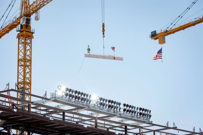 L.A. Coliseum renovation: Final beam is lifted into place