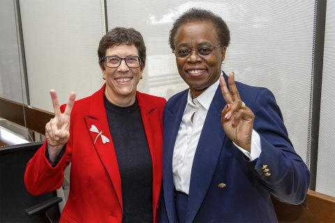 New USC medical school dean Laura Mosqueda and USC interim President Wanda M. Austin