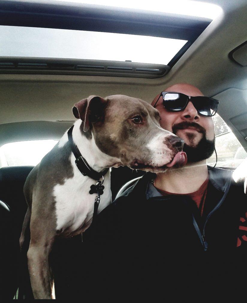 USC veterans: Brandon Wexler with pet dog