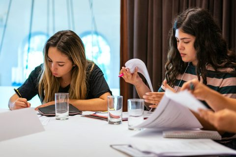 First generation college student programs: Kierra Valdez-McClure and Victoria Nunez fill out an academic planning guide.